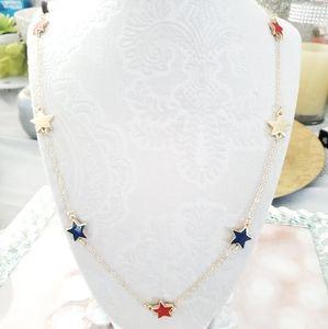 New patriotic mini stars gold tone necklace